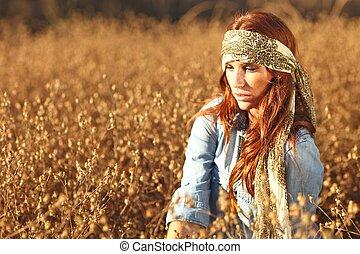 donna, estate, campo, bello