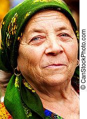 donna, europeo, sorriso, anziano, est, felice