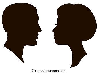 donna, facce, uomo, profili