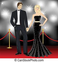 donna, famoso, paparazzi, coppia, elegante, moda, lusso, fronte, uomo, moquette rossa