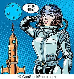 donna, fantascienza, astronauta, capitano, astronave