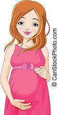 donna, felice, apparecchiato, b, incinta