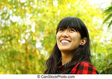 donna felice, asiatico, natura