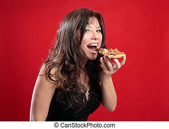 donna felice, consumo pizza