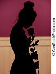 donna, fiore, silhouette, giovane, presa a terra