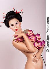 donna, fiori, geisha