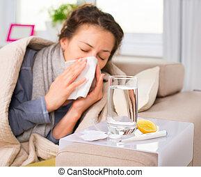 donna, flu., preso, starnutire, cold., tessuto, ammalato, woman.