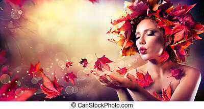 donna, foglie, soffiando, rosso, autunno