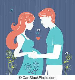 donna, fondo, coppia., marito, regnant, lei, silhouette