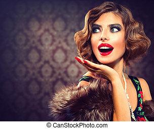 donna, foto, disegnato, lady., portrait., retro, vendemmia, sorpreso
