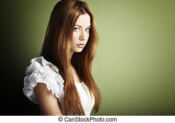 donna, foto, giovane, capelli foggiano, rosso