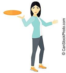 donna, frisbee., gioco