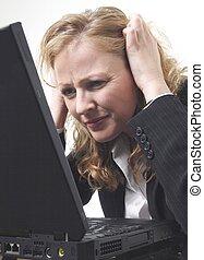 donna, frustrato, affari