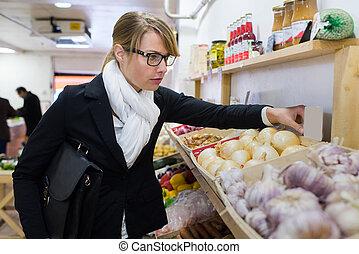 donna, frutte, locale, verdura, mercato, cibo acquisto