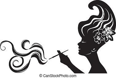 donna, fumo, attraente