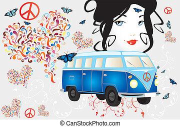 donna, furgone, pace, -, retro, amore