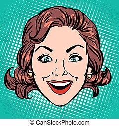 donna, gioia, faccia, retro, sorriso, emoji