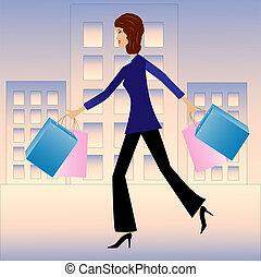 donna, giovane, affari