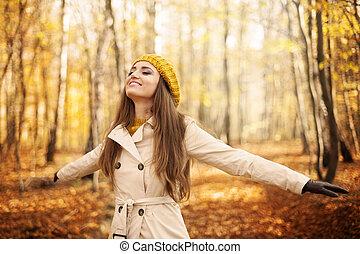 donna, giovane, autunno, natura, godere