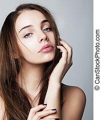 donna, -, giovane, concetto, closeup, ritratto, salute, bello