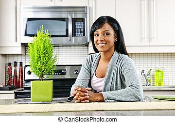 donna, giovane, cucina