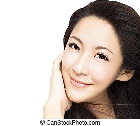 donna, giovane, faccia, asiatico, bello