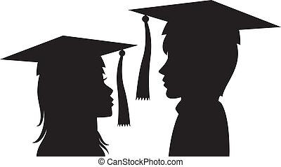 donna, giovane, laureati, uomo