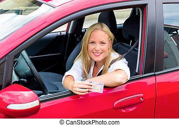donna, giovane, licenza, guida