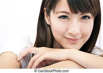 donna, giovane, sorridente, asiatico, bello