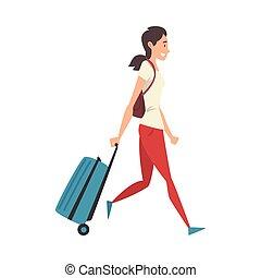 donna, giovane, vacanza, viaggiare, camminare, vettore, illustrazione, ragazza, ruote, valigia
