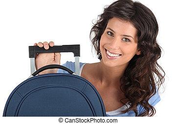donna, giovane, valigia