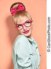 donna, glasses., moda, bellezza, pinup, pensare, nerdy