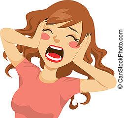 donna, grida, disperato