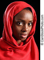 donna, headscarf, musulmano, africano, religioso, rosso