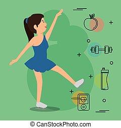 donna, icone, ballo, sport
