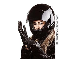 donna, il portare, equipaggiamento, motorsport