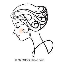 donna, illustrazione, faccia, vettore, bello