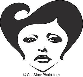 donna, illustrazione, faccia