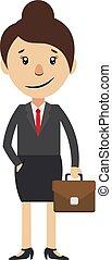 donna, illustrazione, fondo., vettore, valigia, bianco