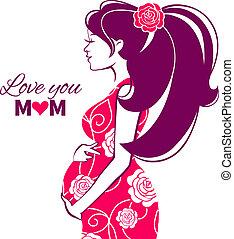 donna, incinta, silhouette, bello