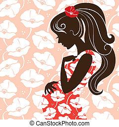 donna, incinta, silhouette