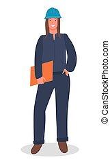 donna, ingegnere, casco, bello, documenti, costruttore, costruzione, uniforme, lavoratore