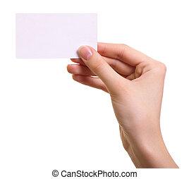 donna, isolato, mano, carta, fondo, bianco, scheda