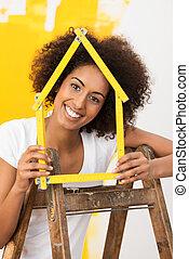 donna, lei, casa, nuovo, sorridente, decorare