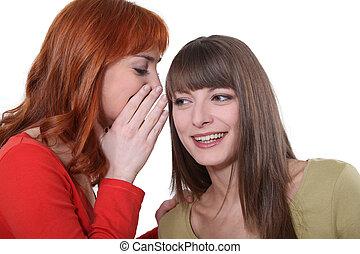 donna, lei, giovane, segreto, amico, sussurrio, orecchio