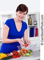 donna, lei, insalata, sano, moderno, giovane, preparare, cucina