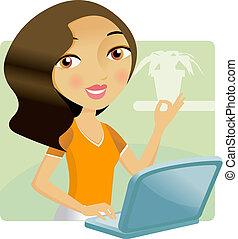 donna, lei, laptop, lavorativo