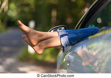 donna, lei, persone, automobile, presa, -, giovane, resto, nero, africano, convertibile, driver