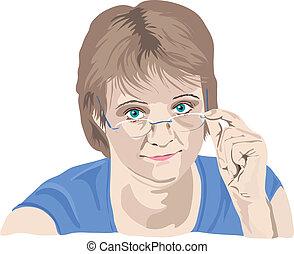 donna, lei, sopra, dita, dall'aspetto, maturo, occhiali