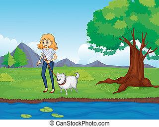 donna, lungo, camminare, fiume, cane